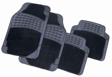 BLACK Heavy Duty BARBED CARPET / RUBBER Interior CAR Floor MATS SET Full Set