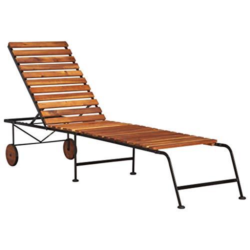 vidaXL Massivholz Akazie Sonnenliege Gartenliege Relaxliege Liegestuhl Liege