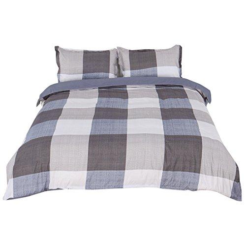 sourcingmap Queen Bunte Plaid Muster Bettbezug Kissenbezug Quilt Deckel Bettwäsche Set - Männer Twin Bettbezug