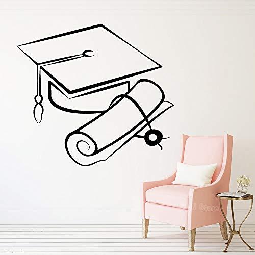 JXTK Bachelor Cap Vinyl Wandaufkleber Jugendliche Schlafzimmer Student Studie Schule Universität Wissenschaft Wissen Aufkleber Removable Home Decor 61X56 cm - Haus Bachelor