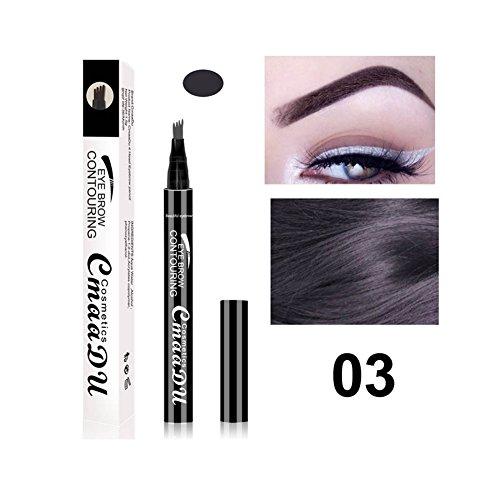 Liquid Eyebrow Pen - BESTGIFT Langlebige Tönung Creme Augenbrauenstift mit vier Tipps Waterproof Wischfest Makeups (03 Grey)