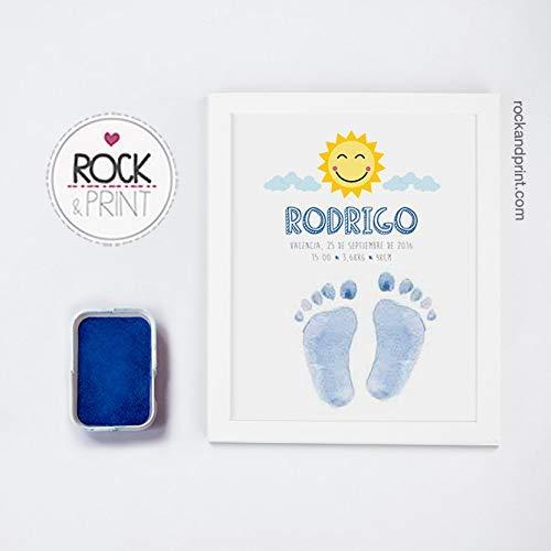 Cuadro huella bebé tinta marco. Elige color lámina