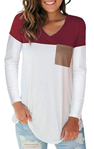 The Aron ONE Damen T-Shirts Basic V-Ausschnitt Farbblock Casual Langarm Oberteil Bluse Oberteile Top Hemd T-Shirts mit Tasche (Burgundy, XX-Large)