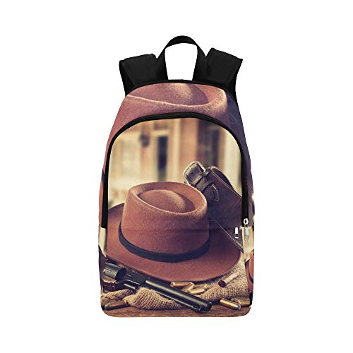 Cowboyhut und Schal Wilder Westen lässig Daypack Reisetasche College School Rucksack für Herren und Frauen Sheriff-holster