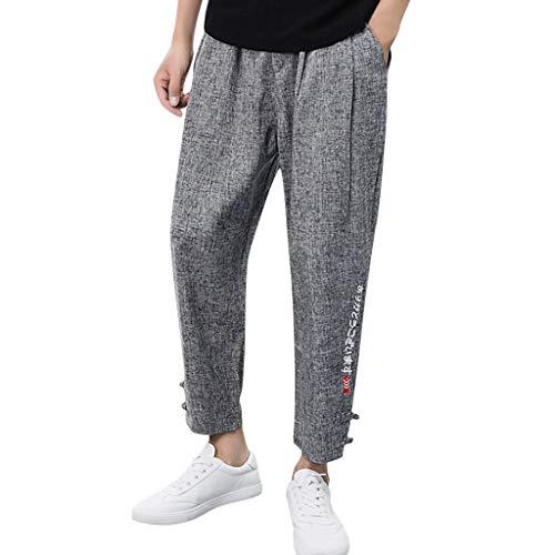 Innerternet ❤️ Pantaloncini Tuta Uomo con Ricamato Stampata Pantaloni da Uomo Casuale in Lino e Cotone Puro Colore Pantaloni Harem a Nove Taglie Forti Eleganti Leggeri Corti Vita Alta