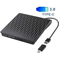 Grabadora DVD Externa USB 3.0 y Type-C, Lector CD/DVD Portátil, Unidades CD/DVD Externas USB, Compatible con Laptop/PC/MacBook/iMac, Windows XP / 7/8/10 / Vista/Mac OS/Linux, etc.