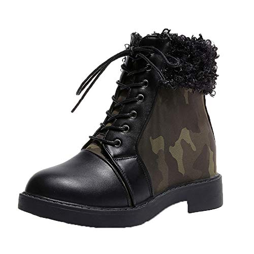 7eeca6a48ce613 Stiefel Damen Julywe Damen Winter Stiefeletten Army Combat Flat Grip Sohle  Pelz Gefütterte Schuhe.