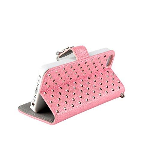 iPhone 5 5S Hülle,COOLKE [schwarz] Flip Cove case Luxury Beautiful Diamond Bling Wallet für Apple iPhone 5 5S Schutzhülle Hülle Schutzschale Schale Handytasche Tasche Etui Case Pink