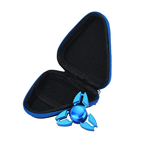 Kolylong Gift For Fidget Hand Spinner Triangle Finger Toy Focus ADHD Autism Bag Box Case (Blue)