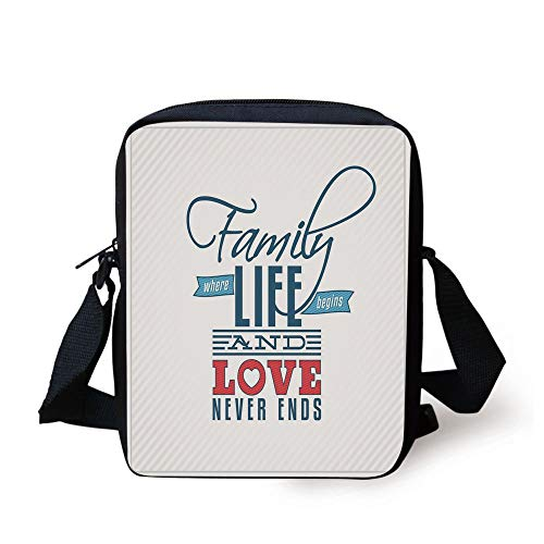 ing Card Inspired Design with a Quote About Family and Love,Black Light Blue Red Print Kids Crossbody Messenger Bag Purse ()