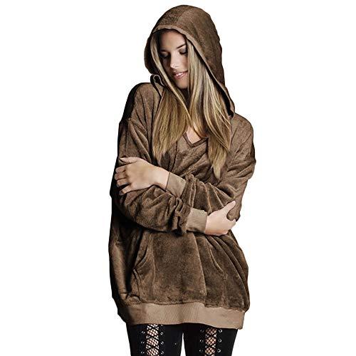 WWricotta Womens Hooded Soft Velvet Jumper Pullover Hoodie Sweatshirt Oversize Coat Jacket Womens Denim-jumper