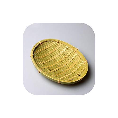 Gezellig Vesper Baskets Obstteller Schüsseln Bambuskorb Delicatessens Platte Dustpan Bambus-Käfig-Vintage-Dekor handgemachte Bambus-Speicher-Korb, Oval 24X19Cm -