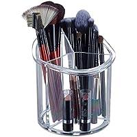 Relaxdays Organizador para brochas de Maquillaje, Redondo, Plástico, Ø15 cm, Tres Compartimentos, Transparente, acrílico