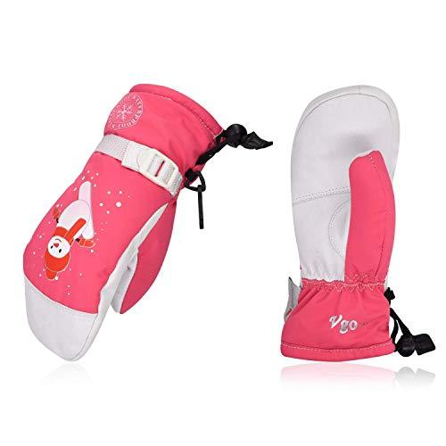Vgo... für Kinder von 2-4 J. A, über -20℃, 3M Thinsulate G80,Wintersporthandschuhe für Schnee, Skifahren, OutdoorZiegenlederpalmen (1 Paar, Kid-XS, Rosa, SF-GA2447FW-KID)