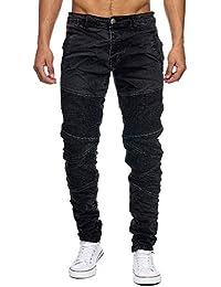 6b2ec0935e77 Megastyl Biker-Jeans-Hose Herren Stretch-Denim Slim-Fit Knee-Stitches