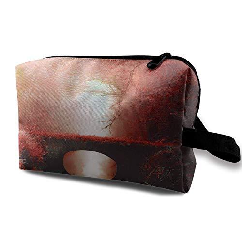 Travel Cosmetic Bag Beautiful Love Bridge Lady Make-up Organizer Clutch Bag with Zipper Toiletry Storage Pouch - Copper Bridge