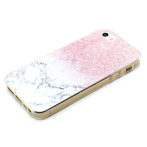 iphone 5s traumfänger hülle, LuckyW TPU Handyhülle für Apple iPhone 5 5S SE Soft Silikon Tasche Transparent Schale Clear Klar Hanytasche Durchsichtig Rückschale Ultra Slim Thin Dünne Schutzhülle Weich Marmor