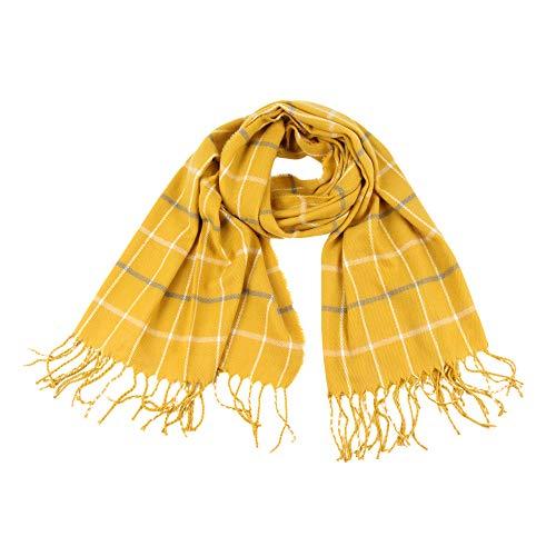 Xmiral Damen Plaid Schal Quaste Wrap Tücher Stirnband Soft Winter Warm Long Scarf(Gelb)