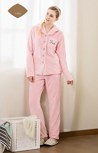 Neueste Frauen Langarm Flanell Revers Pyjama Morgenmantel Winter Nachtwäsche, die draußen getragen werden kann , pink , (Wunderland Für Winter Frauen Kostüme)