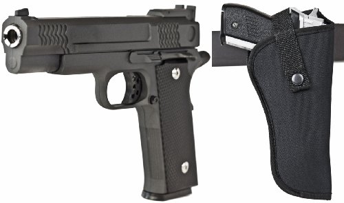 Schwere Softair Pistole Vollmetall 700g + Holster 2115 23cm lang schwarz ab 14 J. < 0,5 Joule