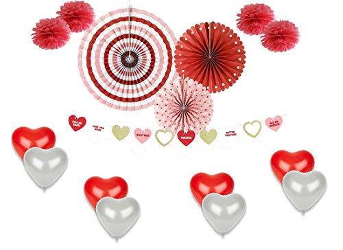 P&d set addobbi love san valentino rosoni ghirlanda palloncini e fluffy