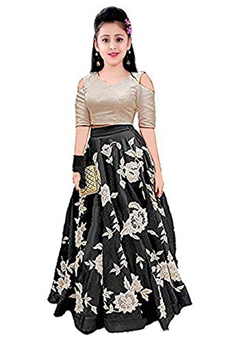 TILUDI Girl\'s Silk Lehenga Choli (EW2013_K_LEHENGA CHOLI_Black_8-12 Year)