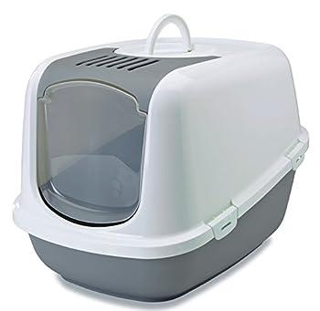 XXL Toilette de chat NESTOR JUMBO blanc-gris spécialement pour chat de grands races