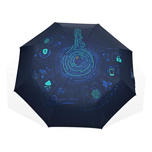 Reiseregenschirm Vintage Style Schöne Goldene Schlüssel Anti Uv Compact 3 Falten Kunst Leichte Faltbare Regenschirme (Außendruck) Winddicht Regen Sonnenschutz Regenschirme Für Frauen Mädchen Kinder -