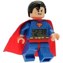 Réveil figurine lumineux Superman de LEGO DC Comics 8020080 Super Heroes pour enfant   bleu/rouge  plastique  hauteur de 24 cm   écran LCD   garçon/fille  produit officiel