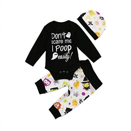 Baby Mädchen Jungen Halloween Outfits Set Langarm Brief T Shirts Floral Hosen Hut 3 Stück Baumwolle Kleidung Set für 0-18 Monate (6-12 M, schwarz 2) (Asiatische Halloween Kostüm)