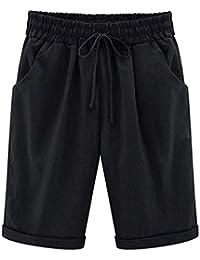 72dfed3ffa894c HomDSim Bermuda Shorts Damen Knielang Sommer Kurze Hose mit Gummizug Frauen  Große Größen Loose Stoffhose Stretch