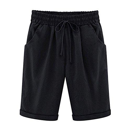 Bermuda Shorts Damen Knielang Sommer Große Größen Kurze Hose mit Gummizug Stretch Shorts Damen Sommerhose Kurz - Strand Bermuda Shorts