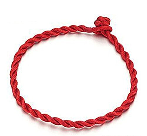 Opk Jewellery Bracelet de corde rouge tissée pour fille/femme - bracelet porte-bonheur 19 cm