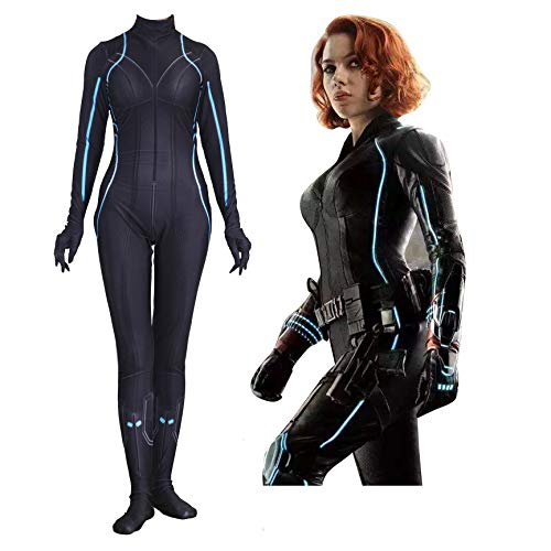 (MAKAFJ Schwarze Witwe Cosplay Kostüm The Avengers Kostüm Halloween Maskerade Theme Party Movie Performance Kostüm Requisiten Elastischer Overall,Black Widow-Adult/L)