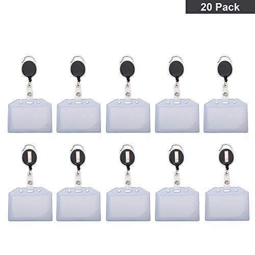 Ausweishalter jojo (20er-Set) Skipasshalter ausziehbar - Transparent Schutzhülle Kartenhalter Ausweis - Schlüsselanhänger mit Seilzug 80cm - Ausweishülle Jojo horizontal, Band & Metall Clip
