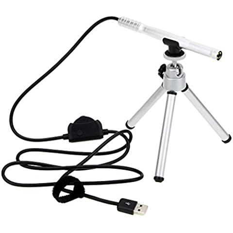 KKmoon Endoscopio del microscopio de la lupa 200X cámara portátil USB 5MP Digital Pen 4 LED Mini HD enfoque manual con el trípode