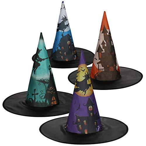 com-four® 4X Hexenhut für Hexenkostüm - Zauberer Hut perfekt zu Fasching, Karneval, Halloween - 45 x 40 cm (04 Stück - Hexenhut)