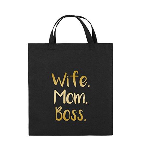 Buste Comiche - Moglie Mom Boss - Borsa In Juta - Manico Corto - 38x42cm - Colore: Nero / Rosa Nero / Oro