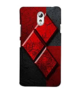 Red and Black Design 3D Hard Polycarbonate Designer Back Case Cover for Lenovo Vibe P1m