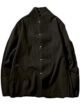 De Algodón De Manga Larga Camisa De Cuello Botones De La Placa De Los Hombres De Gran Tamaño De La Camisa Blusa...