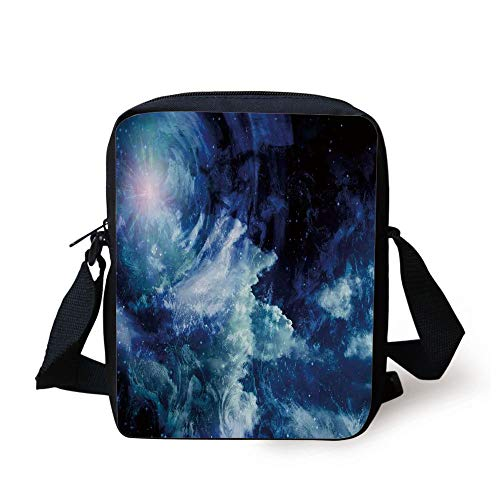 LULABE Space,Nebula Gas Cloud on Celestial Sphere Universe Themed Infinity Design Galaxy Art Print,Dark Blue Print Kids Crossbody Messenger Bag Purse Infinity Muslin