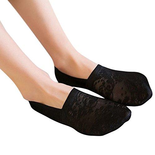 Damen Invisible-Socken Füßlinge aus Baumwolle unsichtbare kurze Socken Sneakersocken mit Rutschfestem Silkon 1 Pair (Schwarz)