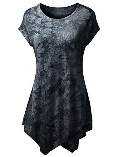 Damen Mode Rundhals T-shirt Kurze Ärmel Tops Blumen Bedrucktes Oberteile Schlankes Pulli Irregulär Saumabschluss Hemden Schwarz