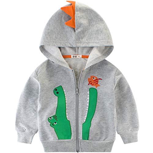 EULLA Jungen Kapuzenpullover Kinder Krokodil Hoodie mit Reissverschluss 98 -