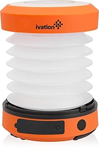 Ivation Solar LED Camping Lantern Collapsible & Rainproof, USB Flashlight torch Mini Lamp with hanging handle, 2 Lighting levels, Emergency Cell Phone charger, Recharges with Solar power or via USB, Never need to change batteries, Easy to store