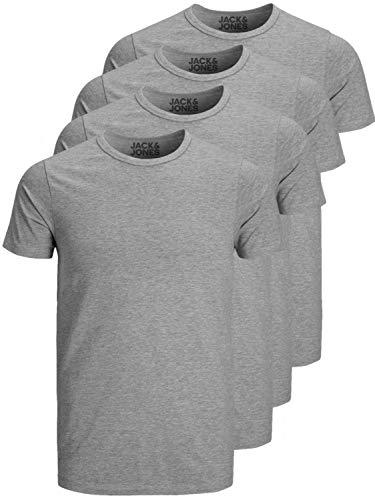 Jack and Jones Herren T-Shirt Basic V-Ausschnitt oder Rundhals 4er Pack einfarbig Slim Fit in weiß schwarz blau grau (S, 4er Pack Grau O-Neck)
