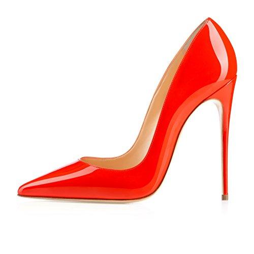 EDEFS Femmes Artisan Fashion Escarpins Délicats Classiques Elégants Pointus Des Couleurs Variées Chaussures à talon de 120mm Bleu Orange