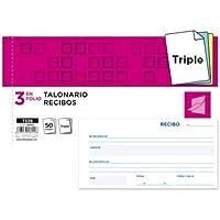 Liderpapel - Talonario recibos 3/fº apaisado original y 2 copias sin matriz (10 unidades)