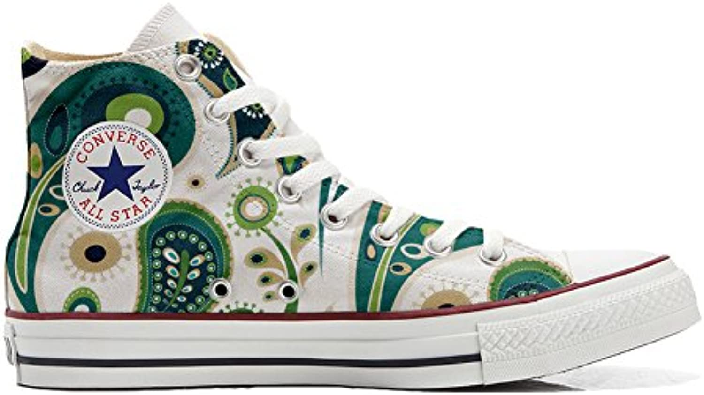 Converse All Star Customized - Zapatos Personalizados (Producto Artesano) White Green Paisley 1  -