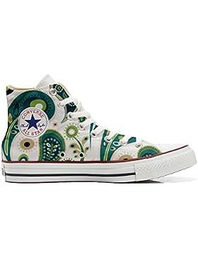 Converse All Star zapatos personalizadas Unisex (Producto Artesano) White Green Paisley 1